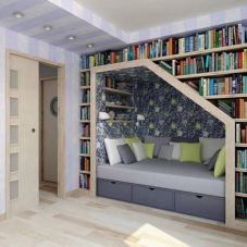 3 Under stairs, blue, books